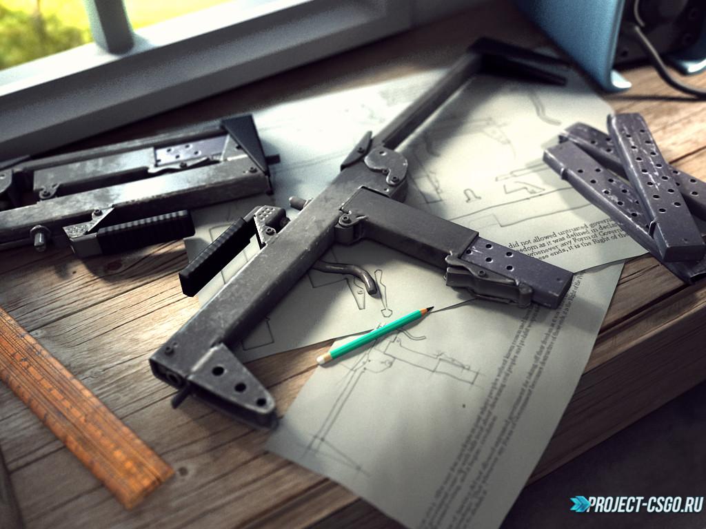 Модель оружия P90 Homemade Submachine gun - MOTH